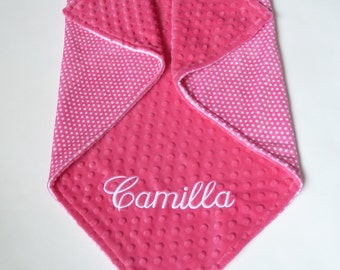 Personalized Double Sided Minky Baby Blanket  -  Baby Girl - Custom Made - Fuchsia Pink With White Dots - You Choose Solid Minky Color