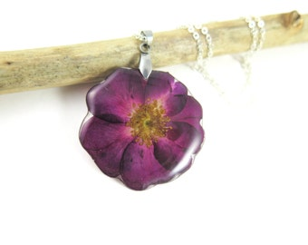 Real flower Necklace, Real, Pressed Flower necklace, Botanical Plant Jewelry, Birth Month June, Nature jewelry, Red Rose
