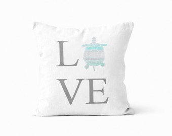 Turtle Lover Gift, Turtle Throw Pillow Cover, Turtle Gift, Love Pillow Cover, Beach Decor, Coastal Decor