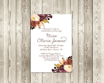 Autumn Berry Bridal Shower Invitation