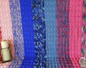 Chunky knit blanket. Knitted blanket. Striped throw blanket. Striped wool blanket. Knit home decor