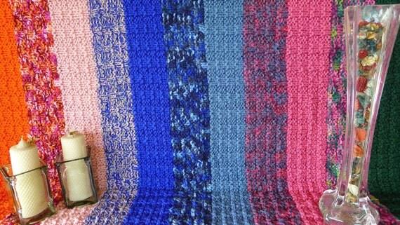 Manta de lana de rayas mantas tejidas a dos agujas mantas de - Mantas de punto hechas a mano ...