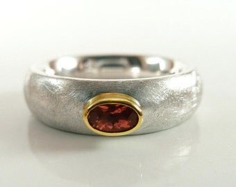 Ring silver with tourmaline and gold - ladies ring, sterling silver, yellow gold - handmade by SILVER LOUNGE