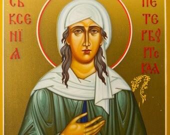 Russian Orthodox Icon Saint Xenia Byzantine Icon Handpainted Holy Icon Orthodox Decor Christian Wall Art Religious Gift Christian Home Decor