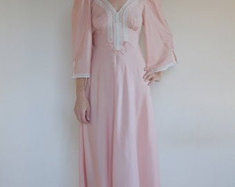 70's pink prairie peasant dress/ nightgown with cotton lace/ romantic boho mixed silk
