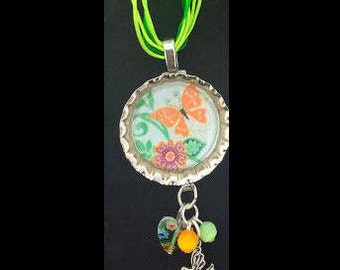 Butterfly Bottle Cap with Heart, Beads and Silver Bird