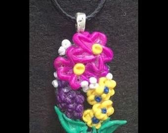 Midsummer Night - Polymer Clay Flowers Pendant