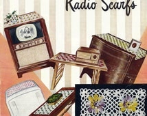 Television and Radio Scarf Vintage Crochet Pattern / Star Book 78 / American Thread Co. 1950