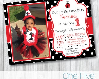 Our Little Ladybug Birthday Invitation with Photo - Printable (5x7)