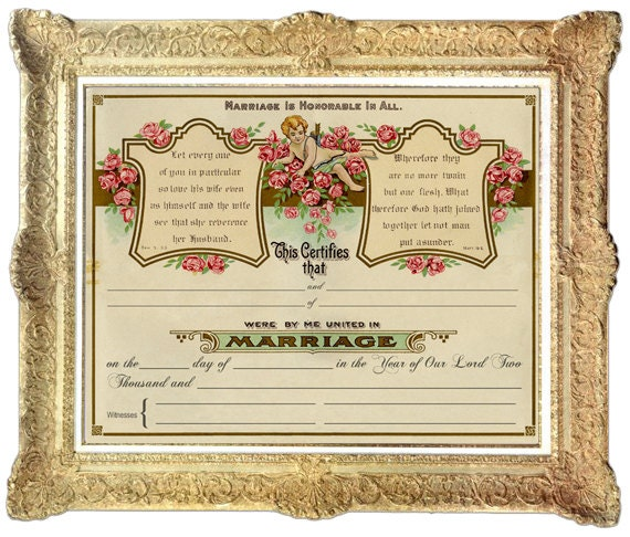 Marriage Records: Vintage Marriage Certificate