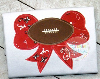 Football Bow Digital Machine Embroidery Applique Design 4 Sizes