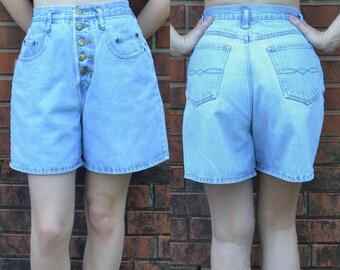 High Waisted Button Up Denim Shorts / Size 9