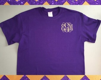 Small Glitter Monogram Monogrammed Shirt Pocket Area- Show in LSU Colors- Personalized To Any Color Combo.. Preppy Cute Initials Shirt