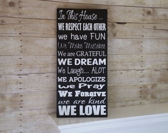 In this House we do...Rules sign - Rustic Wood Sign - New House Gift - Family Rules - Subway Sign  -Anniversary Gift Idea - Unique Gift idea