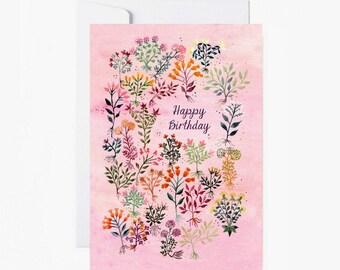 Card, happy birthday, papergoods, postcard, stationery, carte, joyeux anniversaire, Flowers postcard, vintage, livraison gratuite france