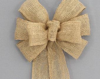 Natural Burlap Wedding Bow - Burlap Christmas Bows, Burlap Wreath Bow, Fall Burlap Bow, Christmas Burlap Wreath Bow
