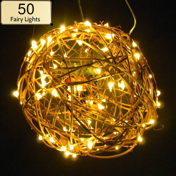 50 Fairy Lights on 9-foot coated copper wire string light.