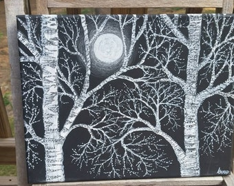 Winter trees with moon on black canvas
