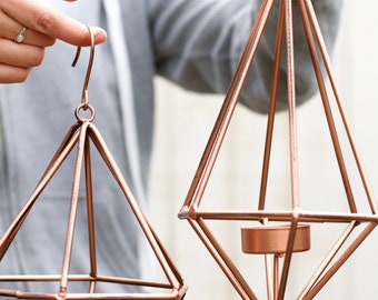 Geometric Decor, Candle Holder, Tea Light Holder, Tea Light Candles, Copper Decor, Outdoor Candle Lantern, Geometric Art, Metal Decor