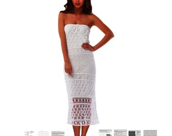Maxi crochet dress PATTERN for sizes S-3XL, detailed description for every row, sexy beach wedding dress PATTERN crochet strapless dress pdf