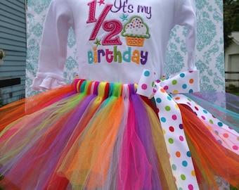 Half Birthday outfit / rainbow / tulle tutu / 6 months / 1/2 birthday