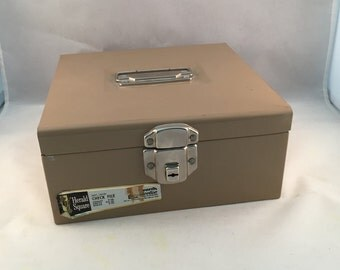 Vintage Beige Metal File Box, Check Box With Month Divider Cards