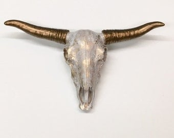 Faux Cow Skull/Animal Skull/Faux Taxidermy/Gold Skull/Longhorn/Animal Head/Anthropologie/Steer/Texas Long Horn/Bohemian Decor