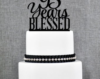 95 Years Blessed Birthday Cake Topper, Elegant 95th Cake Topper, 95th Anniversary Cake Topper- (T260-95)