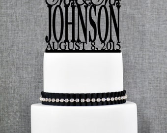 Same Sex Wedding Cake Topper with Elegant font and Date, Same Sex Cake in Script Font, Available in 15 Colors and 6 Glitter Options- (T166)
