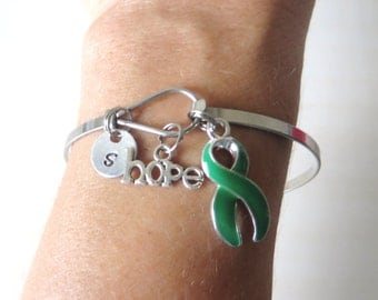 Green LOVE HOPE Customizable Awareness Ribbon Charm Stainless Steel Bangle Bracelet With Optional Love Hope and Letter Charm