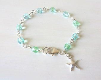Beach Lovers Starfish Aqua Green Transparent Beaded Charm Bracelet