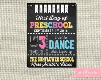 Back To School Sign, First Day of School Sign, First Day of Preschool Sign, Preschool Sign, Chalkboard Sign, Chalkboard Poster, Digital File