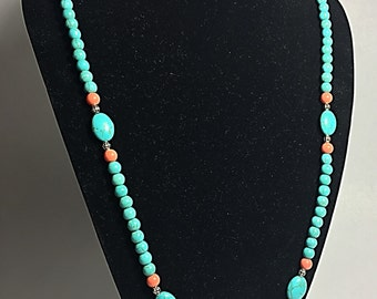 Long Turquoise and Coral Necklace