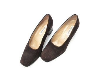6.5/37 Italian Made Ann Taylor Chocolate Brown Suede Block Heel Pumps- Square Toe Chunky Heels- Womens Designer Shoes- Size EU 37/ US 6.5