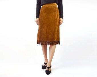 Vintage US Made Suede Fringe Boho Midi Skirt- Caramel Suede Leather-Size 8/ Medium