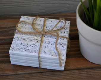 Sheet music tile coasters - Table drink coasters. Heat & water safe full cork bottom