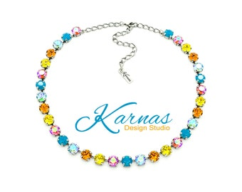 CARIBBEAN CRUISE 8mm Crystal Chaton Necklace Made With Swarovski Elements *Pick Your Finish *Karnas Design Studio *Free Shipping*