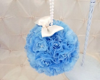 "Kissing Ball Wedding Pomander Blue Flower Girl Bridesmaid Flower Ball Pew Ball Free Hair Pin 5"" Rose Kissing Ball Ivory Bow Pearl Handle"