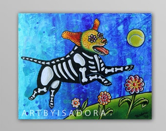 Original Day of the Dead Dog Painting - Dog Folk Art - Día de los Muertos Style Art - playful dog painting