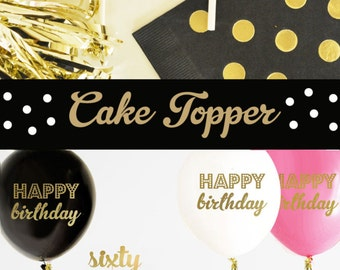 60 Cake Topper - 60th Birthday Cake Topper - 60th Birthday Party Ideas - 60th Birthday Decorations (EB3116) sixty CAKE TOPPER