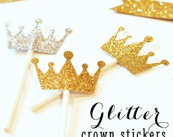Tiara Cupcake Toppers DIY Glitter Stickers Princess Crown Cupcake Toppers Princess Cupcake Toppers Mini Tiara (EB3080) set of 24 STICKERS