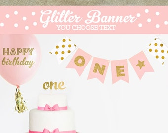Ballerina Birthday Banner - Ballerina Baby Shower Banner - Baby Ballerina Banner - Gold Glitter Birthday Party Banner (EB3062)