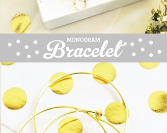 Bridesmaid Bracelet Gold Bridesmaid Jewelry Gold Bridesmaid Jewelry Gift Bridesmaid Bangle (EB3144) Gold Monogram Bracelet