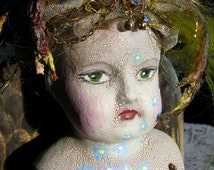 Bird Brain, Recycled / Found Object ALTERED DOLL Assemblage / Sculpture STEAMPUNK, Collage-a-Dada