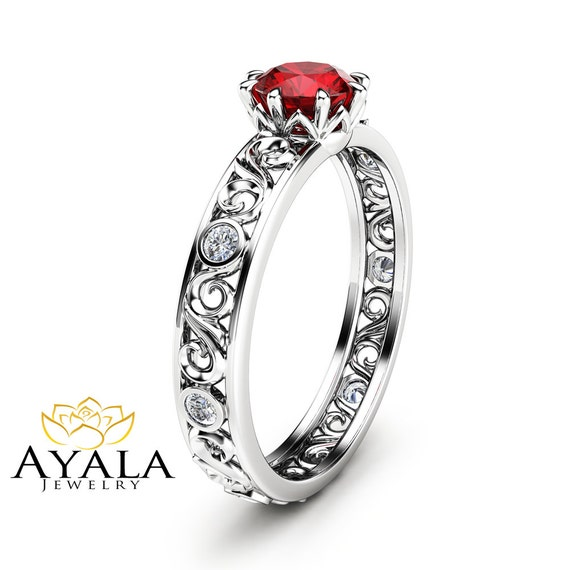 ruby engagement ring unique 14k white gold ruby ring