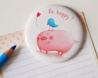 Illustrated Magnet - Magnetic Fridge illustrations, be happy