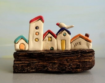 Tiny rustic ceramic beach houses on driftwood , Ceramic miniature home decor , Collectible Little houses , Colorful Houses , Shabby Chic