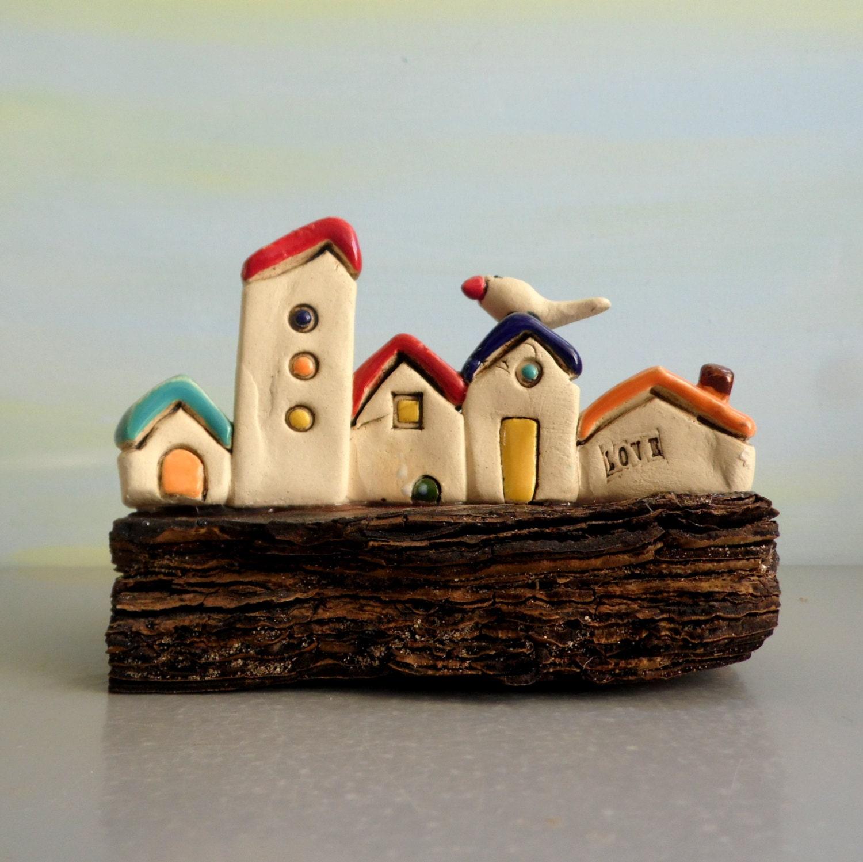 Tiny Rustic Ceramic Beach Houses On Driftwood Ceramic
