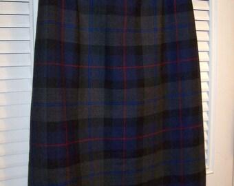 Vintage Talbot's Maxi  100% Wool Straight Plaid Skirt Size 12