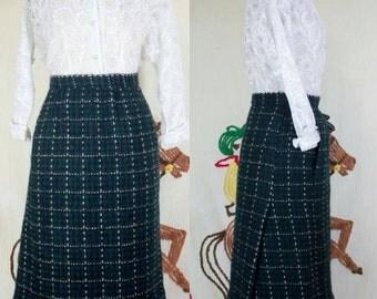 60s YSL Skirt | 60s Wool Skirt | 60s Designer Skirt | 1960s Skirt | 60s Green Skirt | Yves Saint Laurent | 60s plaid Skirt | 28 Waist